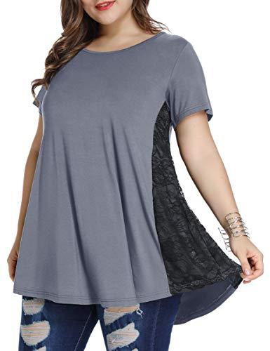 LARACE Women Lace Tunic Top Short Sleeve Flare T Shirt For Leggings(L, Deep Gray)