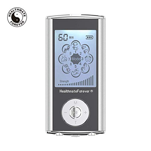 FDA Cleared TENS Unit HM8ML (Silver) 8 Modes HealthmateForever Palm Massage Pro| Mini Pain Relief Body Massager for Shoulder Muscle Soreness Joint Lower Back Pain Relief Wireless ACCESSIBLE