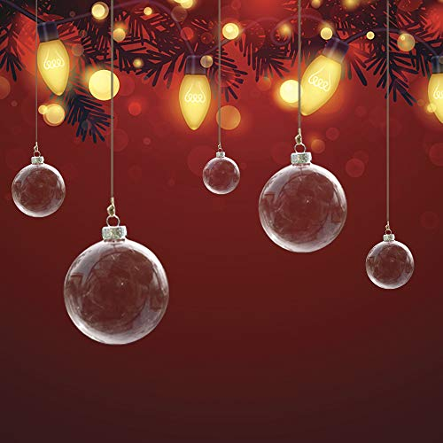 Conniecony 5 pcs Round Clear Glass Fillable Ornaments Ball Christmas Ornaments Holiday Wedding Party Decorations DIY Ornaments (80mm)