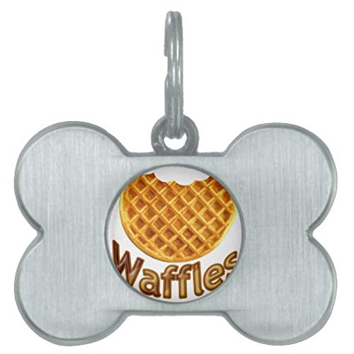 Pet ID Tags Small Personalized Pet ID Tags Custom Dog Tags and Cat Tags, Waffles Yum Pet Tag Gift for Pet Owner - Bone Stainless Steel