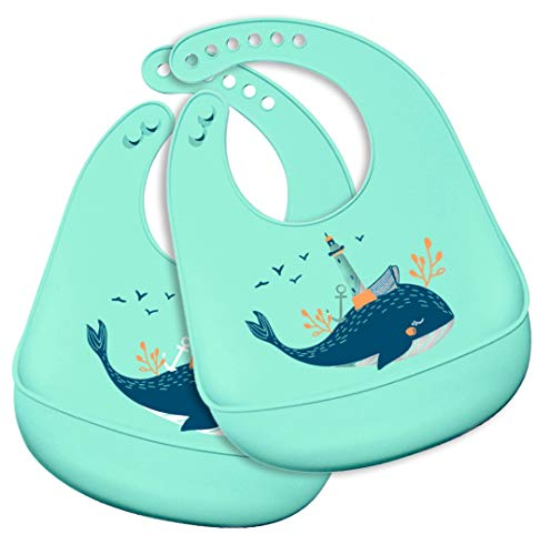 2 Pack Silicone Baby Bibs Easily Wipe Clean for Babies & Toddlers (6-72 Months) Keeps Stains Off, Waterproof, Soft,BPA Free, Easy Clean up (Green Whale)