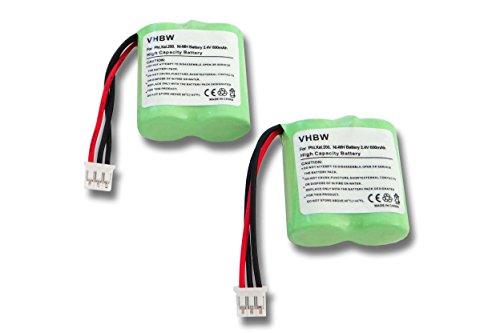 vhbw 2X NiMH batería 600mAh (2.4V) para teléfono Fijo inalámbrico teléfono Philips...