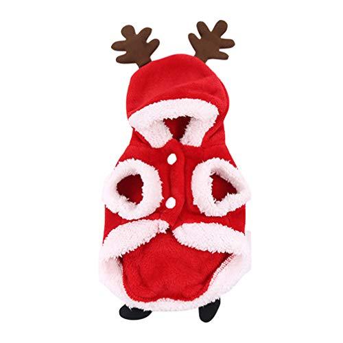 Amosfun Ropa de Alces de Perro de Navidad Mantener Caliente Franela Alces Cachorro Abrigo con Capucha Ropa de Perro...