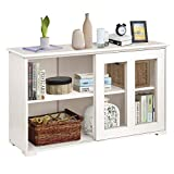 Sideboard Buffet Storage Cabinet, KINGSO Kitchen Storage Cabinets with Shelves and Doors, Stackable Liquor Cabinet for Kitchen Dining Room Furniture Cupboard Console Table (Antique White)