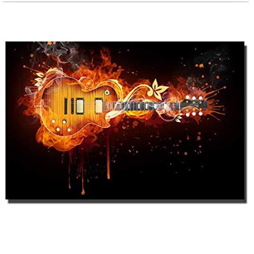 MZDesign Póster Guitarra eléctrica Pintura al óleo Lienzo Guitarra abstracta Carteles e...