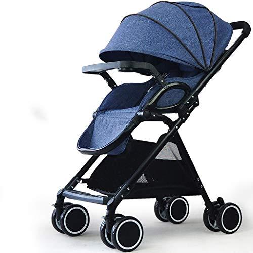 Poussette pliante bébé poussette pliante légère infantile compact voyage buggy pliable approprié pour avion (Color : Blue)