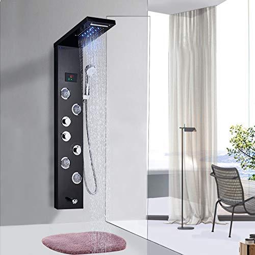 Rozin Panel de ducha LED de acero inoxidable con 5 funciones, ducha de lluvia y cascada, ducha de mano ABS, 4 boquillas de masaje y bañera con 3 asas, color negro