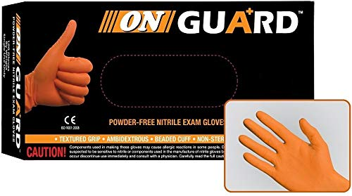 ON Guard Orange Nitrile Exam Gloves, Case of 1000, Size X-Large, 6 Mil, Textured, Latex Free, Powder Free, Disposable, Food Safe