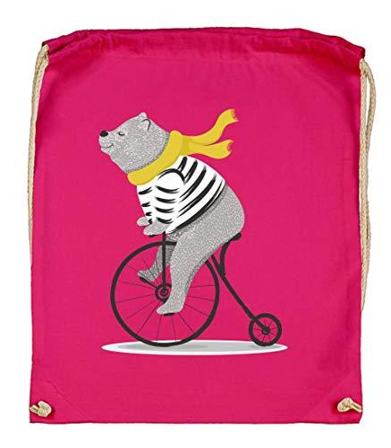 Druckerlebnis24 - Bolsa de tela para bicicleta, diseño de oso y circo, color rosa, tamaño talla única
