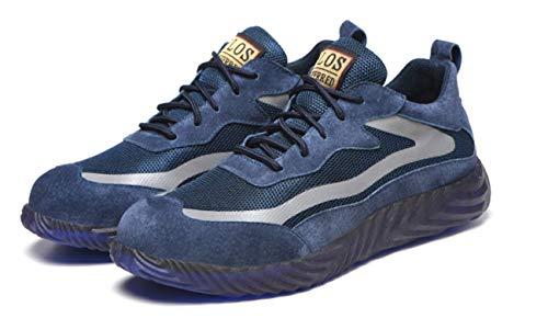 SQL Ligera de Seguridad Punta Zapatos Zapatos de Trabajo de Acero de los Hombres de Las Mujeres de Casquillo Respirable Resistente a la penetración Zapatillas de Deporte de protección,Azul,39