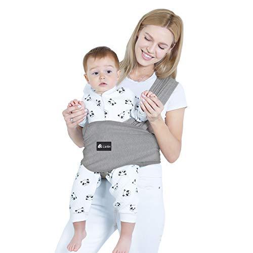 Lictin Fular Portabebés- Portátil Wrap-Baby Elástico Baby Sling Ligero y Ergonómico Funda para Lactancia Portabebés Unisex Ajustable Adecuado para Bebés Hasta Niños de 18.4KG / 40.5lbs Gris