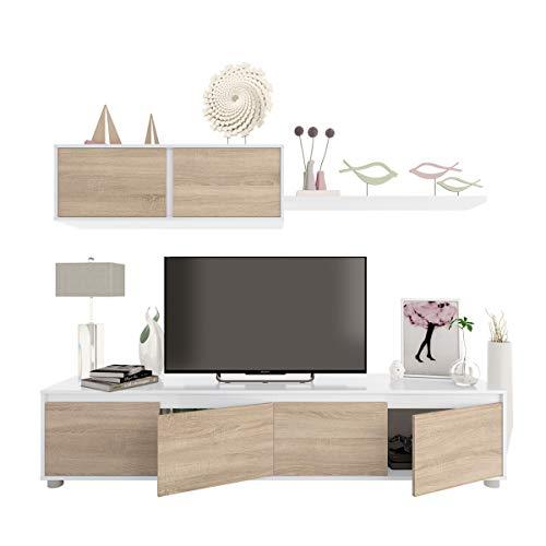 Parete attrezzata soggiorno moderna mobile TV pensile mensola sala pranzo salotto ROVERE+BIANCO 200 X 41 X 43 cm 0F6663A