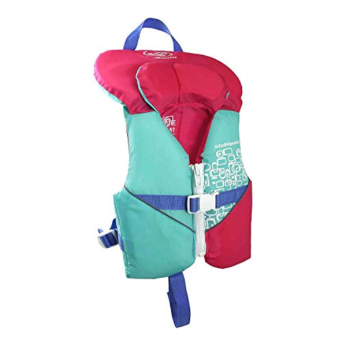 Stohlquist Waterware Toddler Life Jacket Coast Guard Approved Life Vest for Infants,Aqua/Pink,8 - 30 lbs