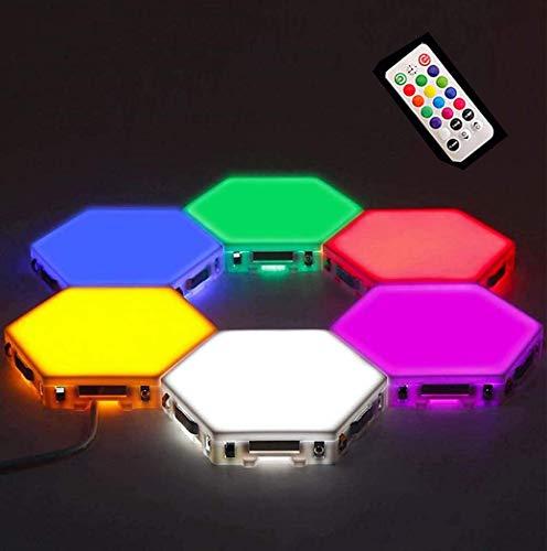 W.KING Splicing LED Smart Light, Wandleuchte Hexagonal, RGB Panels Eine helle Smart-Stimmungs-Beleuchtung mit Fernbedienung für Innen, Modular-Touch Sensitive Lichter Honeycomb Dekorative,6pcs