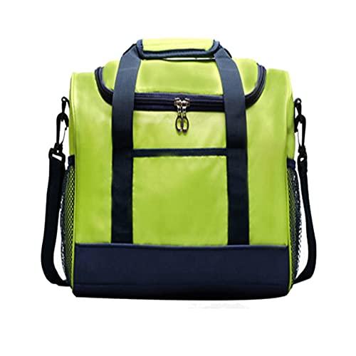 HANMOU Bolsa de almuerzo aislada, lonchera, portátil, a prueba de fugas, caja de almuerzo reutilizable, apto para niños y niñas, color verde 32.5 x 27 x 17