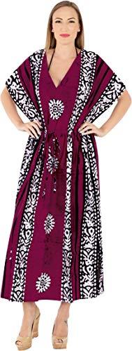 LA LEELA Mujeres Caftán Algodón túnica Batik Kimono Libre tamaño Largo Maxi Vestido de Fiesta para Loungewear Vacaciones Ropa de Dormir Playa Todos los días Cubrir Vestidos Granate_X855