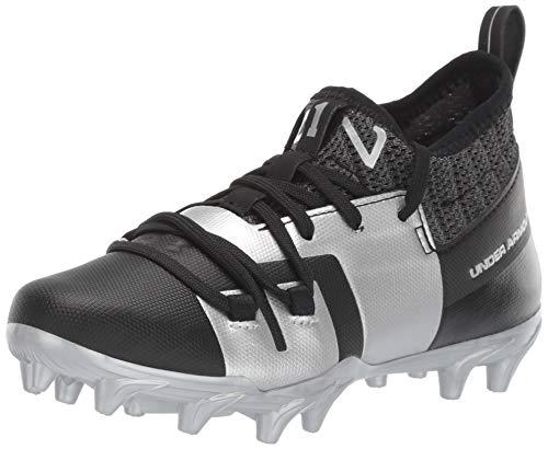 Under Armour Boy's C1N MC Jr. Football Shoe, Black (001)/Metallic Silver, 3 M US Little Kid