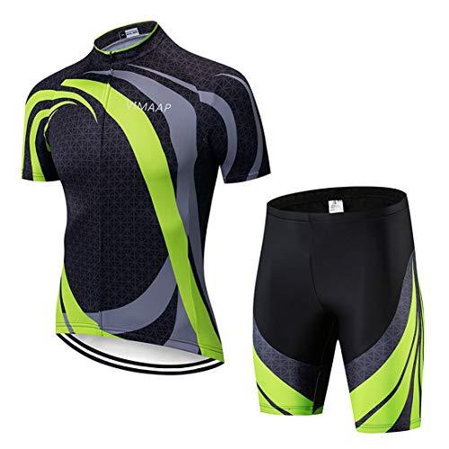 X-Labor Herren Radtrikot Set Atmungsaktiv Schnelltrockend Jersey Shirts Kurzarm + Radhose mit 3D Sitzpolster MTB Fahrradbekleidung Motiv-6 XL