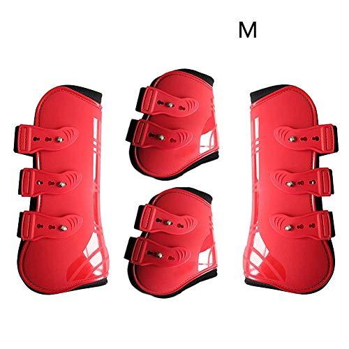 MOOUK 4 stuks paardbeen neopreen laarzen, PU-leer beenwikkels, verstelbaar vooraan achterbeen, laarzen paardrijsport, been, bescherming, paarden, springscharnier bandage