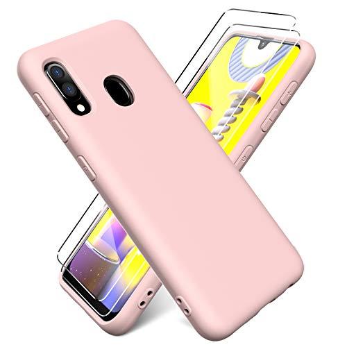 Oududianzi - Funda para Samsung Galaxy A20e + [2 Pack] Protector Pantalla, Carcasa de Silicona Líquida Gel Ultra Suave Funda con tapete de Microfibra Anti-Rasguño - Rosado