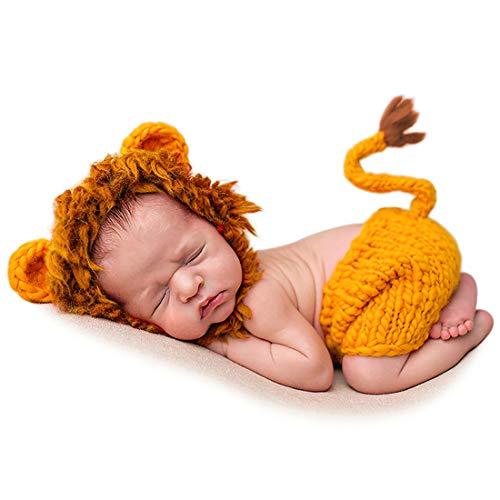 Adorel Baby Fotoshooting Kostüme Set Tiere Löwe Mütze & Hosen