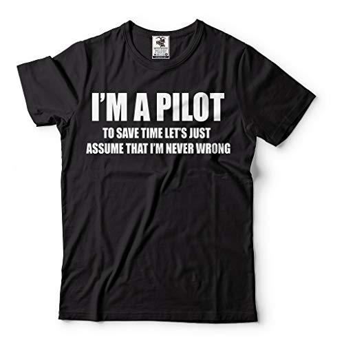 Pilot Aviation Flight School Mens Airplane Funny T-Shirt Large Black