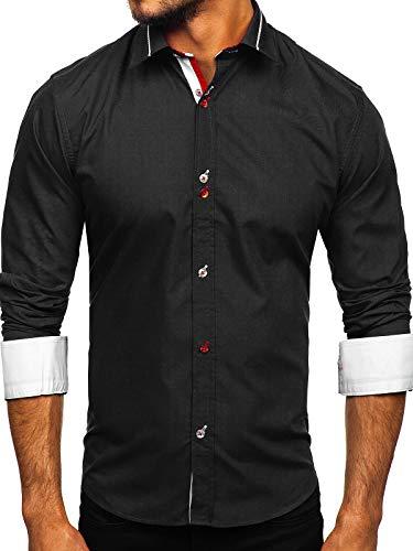 BOLF Herren Hemd Langarm Freizeithemd Classic Elegant Party Bügelleicht Button Down Farbwahl Unifarben Einfarbig Basic Slim fit 5826 Schwarz L [2B2]