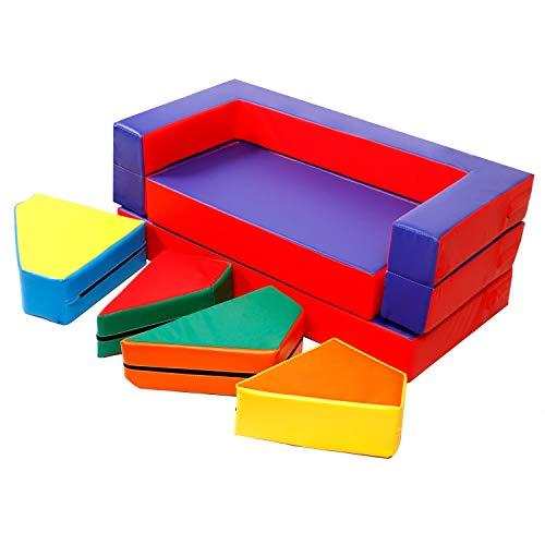 CCLIFE Kinder Spielsofa Stoffbausteine 4in1 Matratze Spieltisch Bausteinen Puzzle Schaumstoff Kindersessel Spielzeug Softbausteine