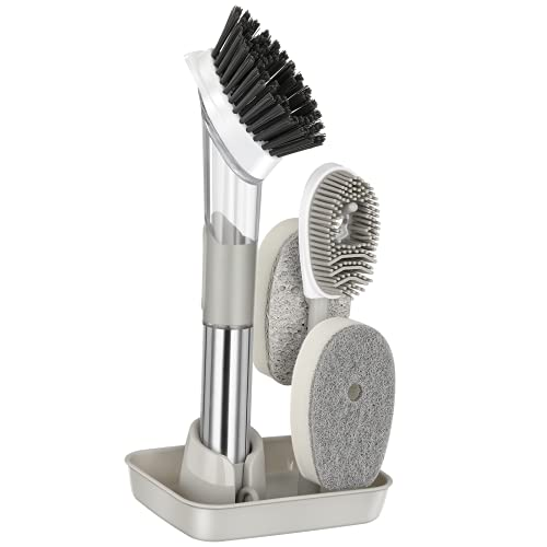 NileHome Soap Dispensing Dish Brush with Base Kitchen Scrub Brush with 4 Replacement Brush Heads Kitchen Brush for Pans Pots Dish Cleaning Washing Brush (Grey)