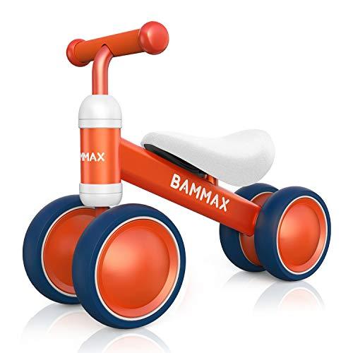 Bammax Kinder Laufrad Lauflernrad Balance Fahrrad ohne Pedale Dreirad Spielzeug für 1 Jahr, Erstes Baby Laufrad für Jungen Mädchen, Empfohlenes Alter: 10-24 Monate, Orange