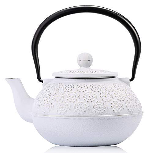 Cast Iron Teapot, Sotya Tetsubin Japanese Tea Kettle (1200ML, white)