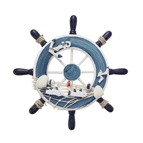 WINOMO - Volante decorativo de madera náutico volante, remo, decoración de pared con red de pesca, ancla, gaviota para dormitorio, salón, cuarto de baño
