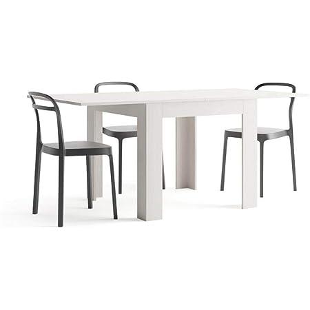 MOBILI FIVER, Table Extensible, Eldorado, Frêne Blanc, 90 x 90 x 79 cm, Made in Italy