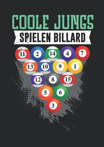 Notizbuch A4 liniert mit Softcover Design: Coole Jungs spielen Billard Queue Billardkugeln Pool Billard: 120 linierte DIN A4 Seiten