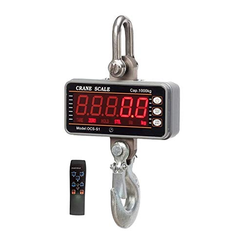 iDili CE Certified High Precision Stainless 1000KG 2000LBS 1T Aluminum Digital Crane Scale Heavy Duty Compact Hanging Scale OCS-S1 Smart Type LED Display 0.5kg with Remote (OCS-S1 Silver)