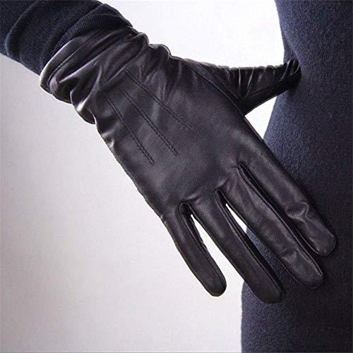AMZIJ GlovesGenuine Leather Pure Sheepskin Gloves Damen Schwarz Mittlerer und langer Abschnitt Basic Woman Plush Lined Keep Warm Mittens S Black