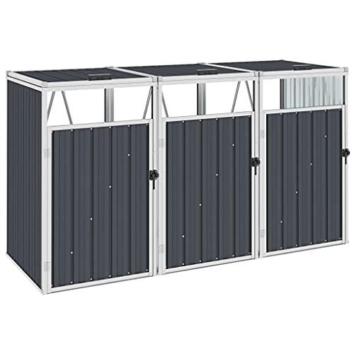 *vidaXL Mülltonnenbox für 3 Mülltonnen Klappdeckel Mülltonnenverkleidung Müllbox Müllcontainer Gartenbox Gerätebox Anthrazit 213x81x121cm Stahl*