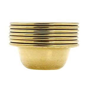 Brass Offering Bowl Set of 7 Tibetan Buddhist Alar Supplies for Meditation Yoga Burning Incense Ritual Smudging Decoration by Mandala Crafts 3 Inches