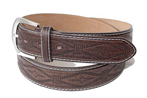 Emeco Estilo Western Cowboy Biker Cinturón de Piel Belt E10007–2 Marrón marrón
