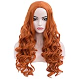 BERON Long Wavy Charming Full Synthetic Wigs for Women Girls Natural Curly Wigs with Wig Cap (Orange)