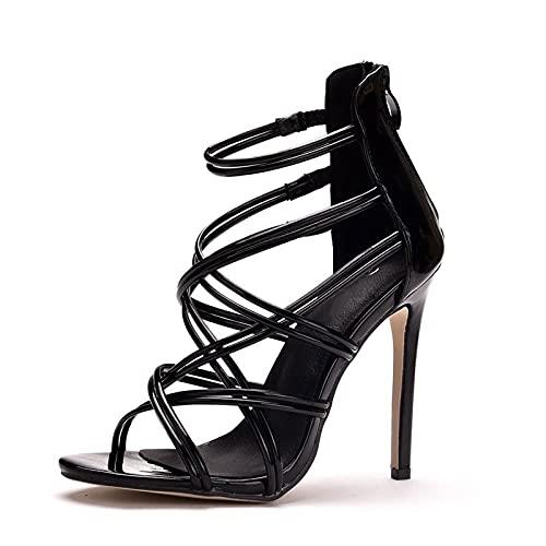 AORISSE Zapatos De Novia para Mujer, 11 cm Tacones De Aguja Huecos para Mujer Sandalias Banda Cruzada Punta Abierta Sandalias De Tobillo con Cordones Vestido De Noche,Negro,37EU