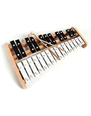 Xilófono soprano profesional de madera tamaño completo Glockenspiel con 27 llaves de metal para adultos y niños, incluye 2 batidoras de madera