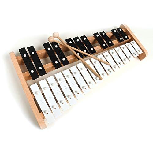 Xylophone soprano professionnel en bois avec 27 clés en métal pour adultes et enfants – Comprend 2 baguettes en bois