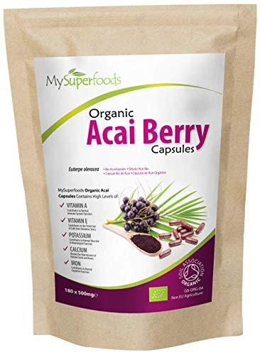 Organic Acai Berry Capsules (180x500mg), Every Batch Lab Tested for Purity, by MySuperfoods
