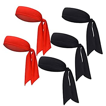 HCHYFZ Head Tie & Sports Headband - Keep Sweat & Hair Out of Your Face Ideal for Running Working Out Tennis Karate Athletics Pirates Performance Stretch Moisture Wicking  5PACK-3BLACK+2RED