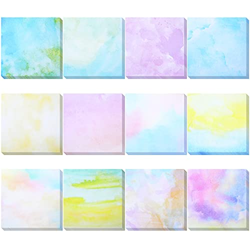 12 Pieces Watercolor Adhesive Sticky Note Pads Colorful Self-Stick Notes Memo Pads Square Watercolor Notepads for Reminder Studying Marking, School Office Home Supplies, 2.87 x 2.87 Inch