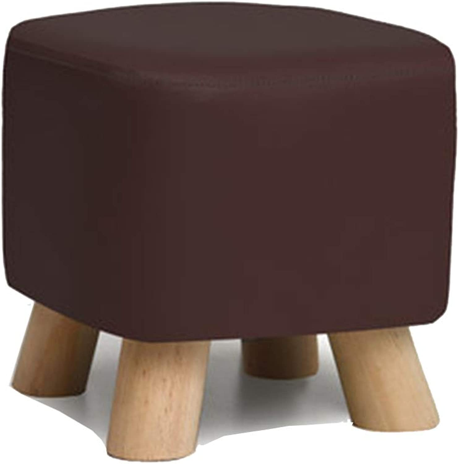 Stool Coffee Table Stool Solid Wood Fabric Square Stool, PU Fabric is Free to wash and wash, Kitchen Bedroom Living Room,G,28  28  25CM