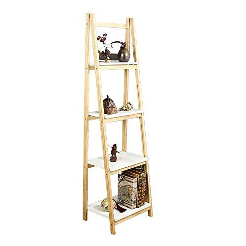 JCNFA planken massief hout trapeziumvormige plant stand/boekenplank, vloer gemonteerde planken, dikke massief houten frame is sterk, assemblage-vrij ontwerp, 3 lagen/4 lagen