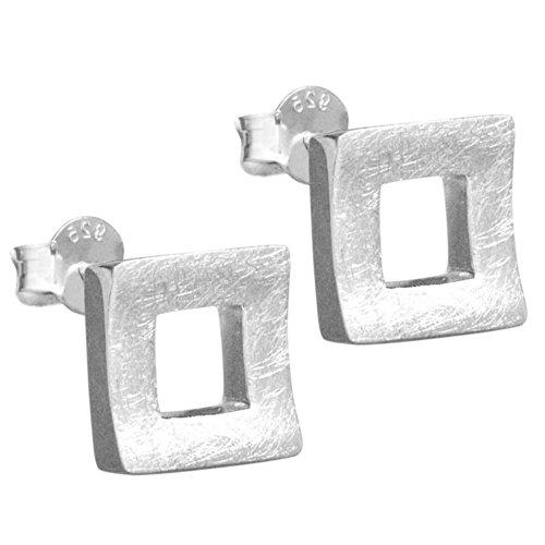 Vinani Ohrstecker Viereck gebürstet Sterling Silber 925 Quadrat Ohrringe OQD