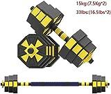 LZMXXQ 10 kg / 15 kg / 20 kg Jeu Portable Poignée Haltère Adjustable Extension Barbell Gym for la Maison et Le Bras et Musculation Main (Color : Yellow, Size : 15 kg (Pair))